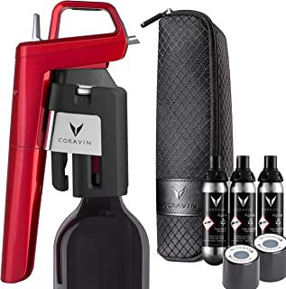 Coravin Model Six Advanced Wine Bottle Opener and Preservation System, Candy Apple Red