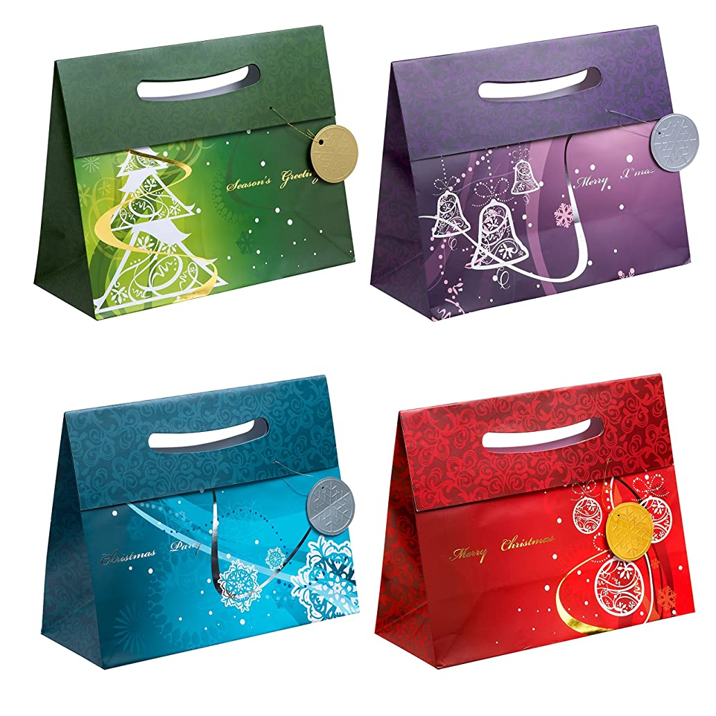 TSI 86417 Gift Bags with Hot Stamping Christmas Elegant, Pack of 12, Size: Large Landscape (10 X 12,5 X 5,5 inch)
