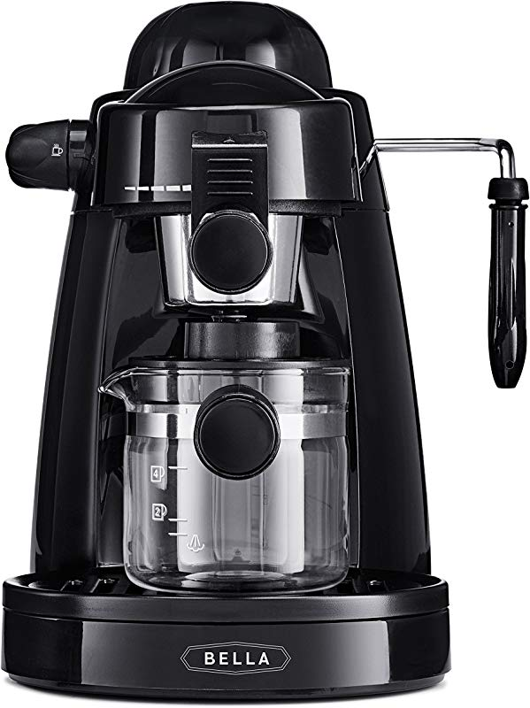 BELLA 13683 Personal Espresso Maker With Built In Steam Wand Glass Decanter Permanent Filter 5 Bar Pressure Black