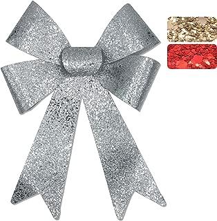 Glitzer-Geschenkschleife, 45x28x8cm, geeignet für Geschenke, Hochzeiten, Partys und als Dekoration 1x Silber Groß, 45x28x8cm