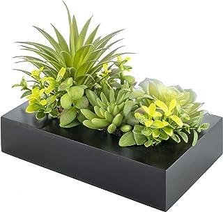 Jardin Vertical Rectangulaire en Bois Noir avec Plantes Succulentes Artificielles Vertes pour Décoration de la Maison - Ce...