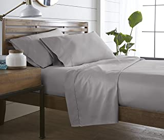 500 TC, 100 % Long Staple Ultrafine cotton, Luxury Bedding, Hotel Collection, fits mattress up to 16 inch, Solid Sateen Weave , 4 Sheet Set Pleated Hem (Full Grey Silver) By Westbrooke Linens