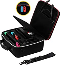 Rayvol Deluxe Carrying Case for Nintendo Switch, Travel Case with Rubberized Handle and Shoulder Strap, Fit Complete Switch System + Pro Controller + Poke Ball Plus