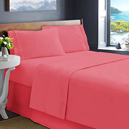 Hearth & Harbor Soft Luxury Double Brushed Microfiber Fitted Bed Sheets,  Queen,  Coral Pink,  4 Piece