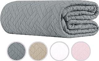 100% Cotton Coverlet Soft Breathable - Jacquard Matelassé Twin Size Scottish Grey