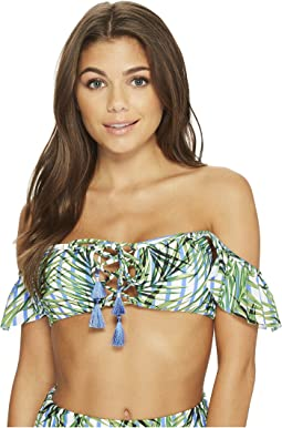 Red Carter - Palm Party Lace-Up Off-Shoulder Bikini Top
