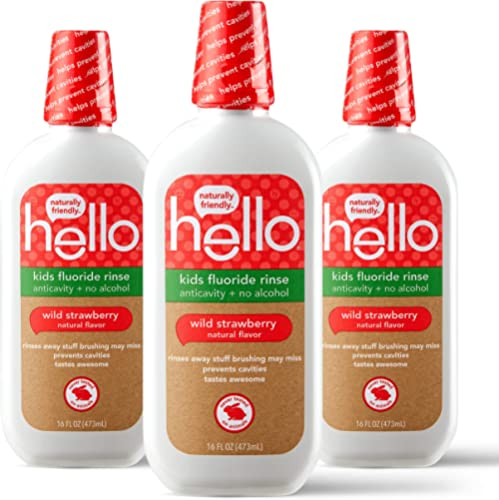 Hello Kids Wild Strawberry Natural Flavor Anticavity Fluoride Rinse - Vegan, Alcohol Free, and SLS Free Mouthwash for...