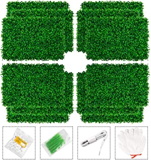 MR FIVE 12 Pieces Artificial Boxwood Panels Topiary Hedge Plant,Faux Plant Protected Privacy Screen Garden Fence,Outdoor I...