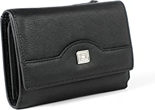 RFID Leather Trifold Wallet for Women - Secure Small Evening Clutch Purse