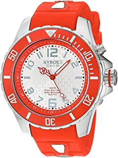 KYBOE! Power Stainless Steel Quartz Watch with Silicone Strap, red, 22 (Model