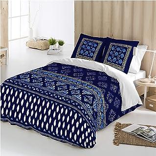 b167b32c693 COTTON ART - funda Nordica Modelo INDIAN AZUL cama de 90 (150X260cm) + 1