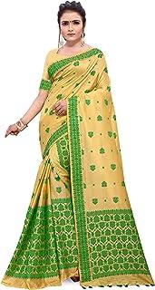 SKiran's Assamese Art Cotton Silk Mekhela Chador Saree - Dn31 Mekhla Sador (Chiku & Green)