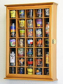 31 Shot Glass Shotglass Shooter Display Case Holder Cabinet Wall Rack -Oak