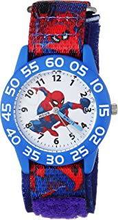 MARVEL Boys Spider-Man Analog-Quartz Watch with Nylon Strap, Blue, 16 (Model: WMA000189