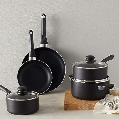 Amazon Basics Non-Stick Cookware Set, Pots and Pans - 8-Piece Set