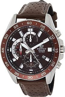 Casio Men's Quartz Watch, Analog Display and Leather Strap Efv-550L-5Avudf, Brown Band