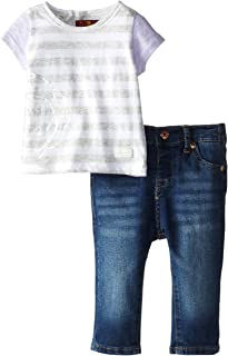 Baby-Girls Newborn Color Block T-Shirt and Skinny Jeans