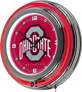 NCAA Ohio State University Chrome Double Ring Neon Clock, 14
