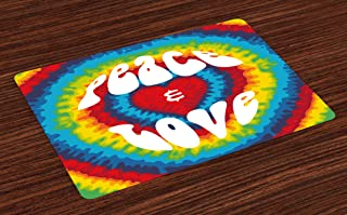 Ambesonne 70s Party Place Mats Set of 4, Peace and Love Groovy Sixties Tie Dye Effect Heart Shaped Abstract Rainbow Print, Washable Fabric Placemats for Dining Room Kitchen Table Decor, White Rainbow