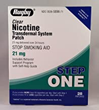RUGBY Clear Nicotine Transdermal System Patch, Stop Smoking AID, 21mg Step ONE 28 Patches.