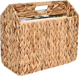 "StorageWorks Hand-Woven Water Hyacinth Divided Magazine Basket, Rectangle Wicker Magazine Rack, 14.1"" x 12.5"" x 7.5"""