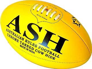 LAEMA Tournament Match Quality Professional Genuine Leather Australian Rules Ball AFL - Size 5 Yellow