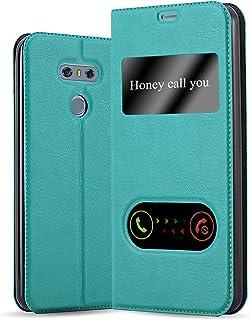 Cadorabo Hoes voor LG G6 in mint turkoois - telefoonhoes met magneetsluiting, standfunctie en 2 kijkvensters - case cover ...