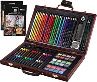 ARTIBOX Art Set 84 Piece Art Supplies in Wooden Case with Oil Pastels, Colored Pencils, Watercolor Cakes, Sketching Pencil...