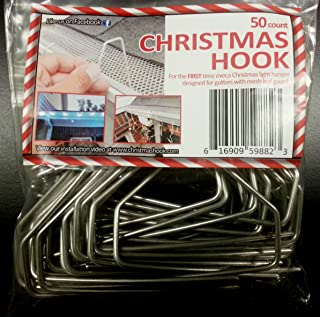 Christmas Hook - Christmas Light Hanger for Gutters with Mesh Leaf Guard [Metal Hooks] - 50 Count