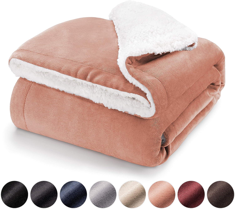 Blumtal Mantas para Sofá Reversible de Sherpa y Franela Suave - Manta Polar 100% Microfibra Extra Suave, Manta de sofá, de Cama o de Sala de Estar, Rosa, 150 x 200 cm