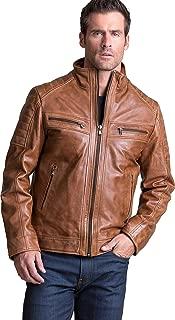 Overland Sheepskin Co UDO Waxed Lambskin Leather Moto Jacket