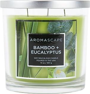 Aromascape 3-Wick Scented Jar Candle, Bamboo & Eucalyptus