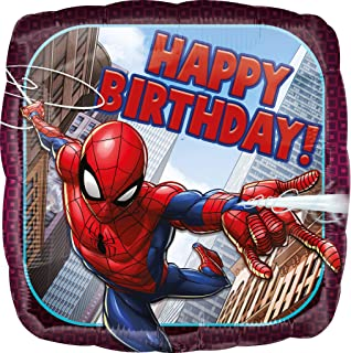 Amscan International 3466401 Spider Man Happy Birthday Foil Balloon, Multi Colour, Square Birthday Foil Balloon with Spide...