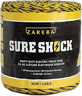 Zareba HDW1320YA-Z Heavy-Duty Sure Shock Aluminum Polywire, PVC-Coated Fiberglass and UV-Stabilized Electric Fence Line, 1,320 Feet x 1/8 Inch Thick, Yellow
