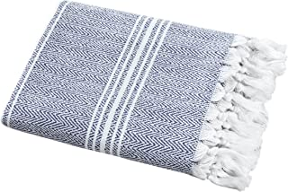 "SALBAKOS Incredibly Soft, Turkish Peshtemal Fouta Towel, Eco-Friendly and Oeko-Tex Certified 100% Cotton, Herringbone for Spa Bath Pool Sauna Picnic Throw Blanket (40""x70"", Blue)"