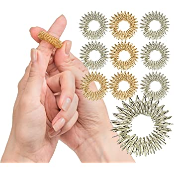 Spiky Sensory Finger Rings (Pack of 10) - Great Spikey Fidget Toy for Kids and Adults - Fun Set of Acupressure Toys from The Impresa Monkey Line - Great Classroom Supplies