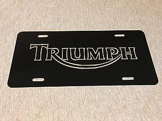 Diamond Etched Triumph 2 Logo Car Tag on Black Aluminum License Plate