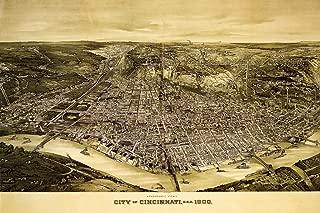 1900 Cincinnati Bird's-Eye View Map Poster Reproduction (24