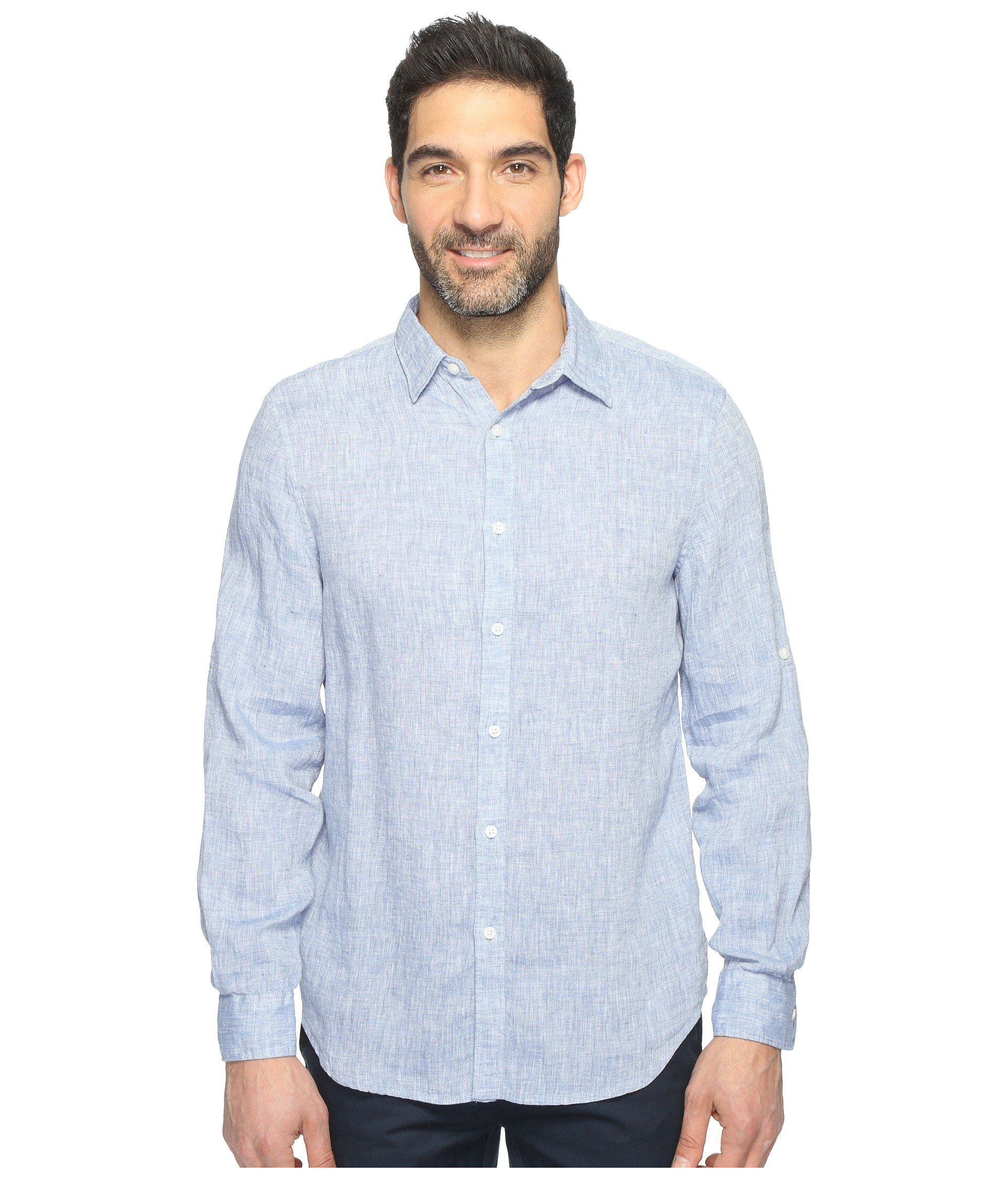 Sleeve Colony Rolled Shirt Blue Solid Ellis Perry Linen ExfPwqpnz