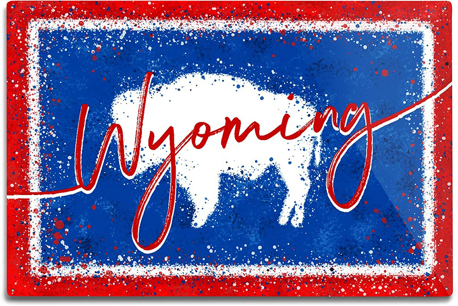 Lantern Press Wyoming Directly managed gift store State Abstract Watercolor Splatter Flag