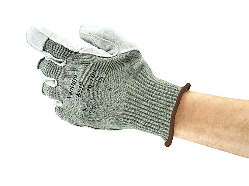 アニメーション瞑想する蓋Ansell Vantage 70-765カット保護手袋、機械的保護、グリーン、サイズ11(12ペアのパック)