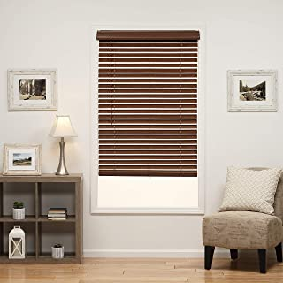 DEZ Furnishings QJBK210640 2 in. Cordless Faux Wood Blind, 21W x 64L Inches, Dark Oak