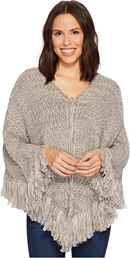 Collection XIIX - Lace-Up Knit Fringe Poncho