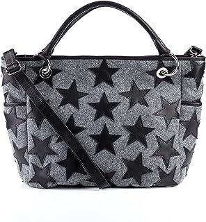Feynsinn Handtasche mit Langen Henkeln Willow - Schultertasche groß - Damentasche - echt Filz & Leder grau und schwarz