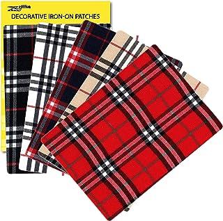 ZEFFFKA Premium Quality Plaid Fabric Textile Decorative Iron-on Patches Modern Cool Design 5 Pieces 100% Cotton Repair Kit...