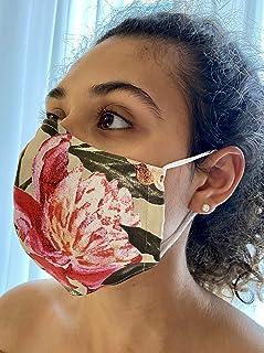 Mascherina Unisex Lavabile 100% cotone fiori rosa