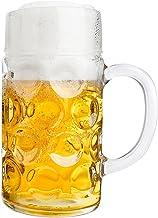 Van Well Maßkrug 1 Liter geeicht | großer Bierkrug mit Hen