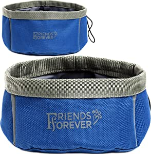 Friends Forever - 2 Pack Travel, Portable Collapsible Water and Food Bowls for Dogs