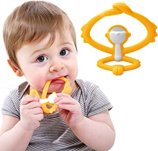 Mombella Hugging Monkey Teether Toy   Perfect for Sore Gums   Attaches to Bottles and Cups   Easy Grasp   BPA, Phthalate, PVC, Latex Free   Microwave, Sterilizer and Freezer Safe   3 Months