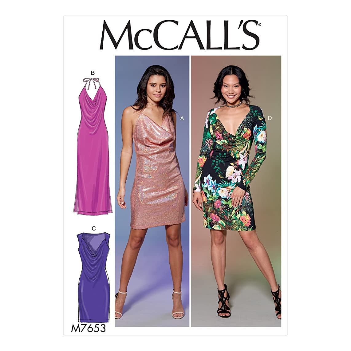 McCall Patterns M7653OSZ Misses' Draped Front, Side-Panel Dresses